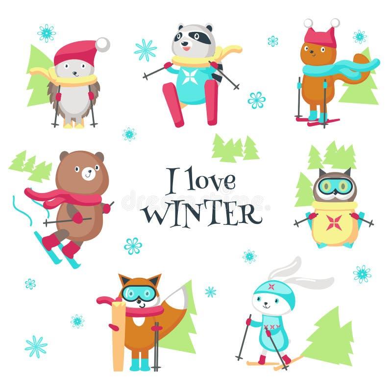 Nette Tiere, die in lokalisierter Illustration des Winters Vektor Ski fahren stock abbildung
