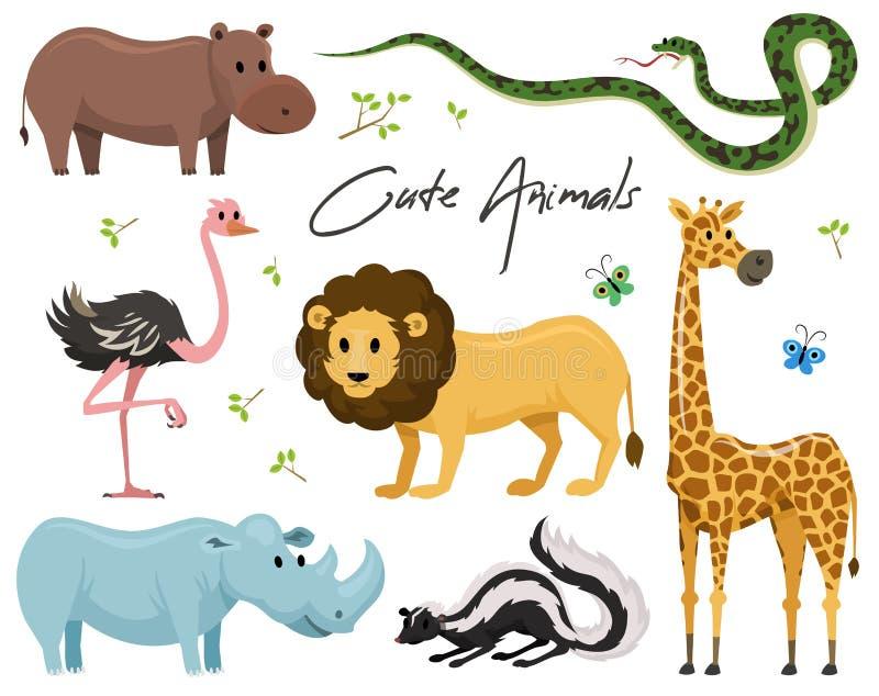 Nette Tiere für Baby Wildes Giraffennashorn Strauß und Stinktier Schlange und Nilpferd Löwe und Tiger Weinlesewelt lizenzfreie abbildung
