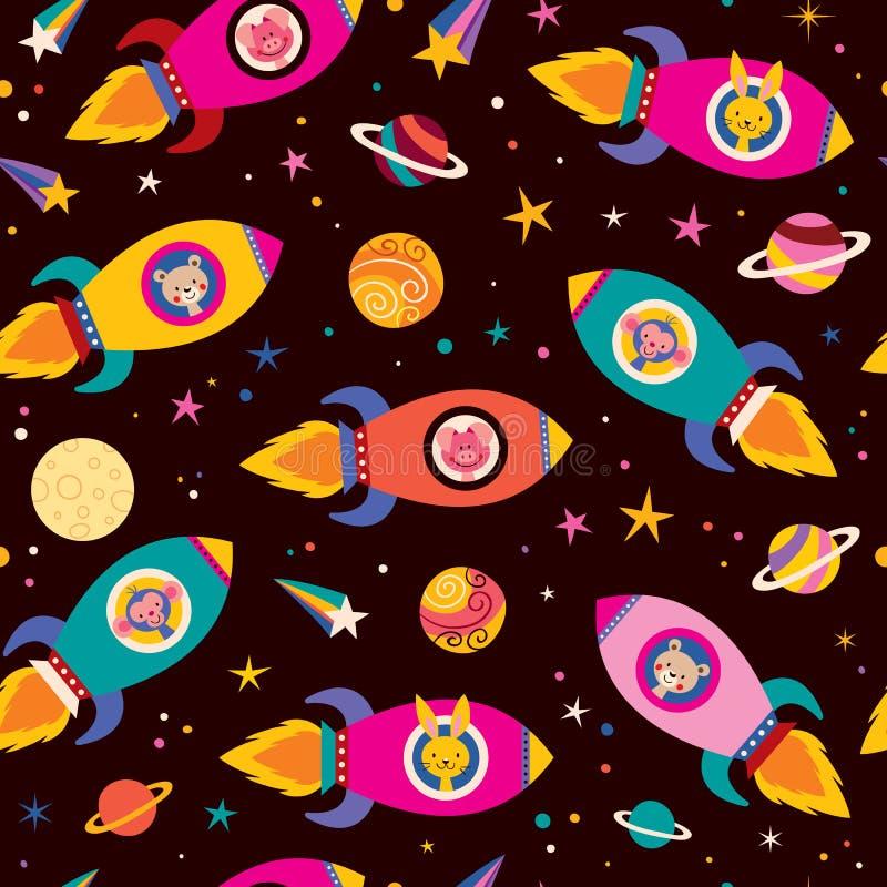 Nette Tiere im Raumschiffkindermuster vektor abbildung
