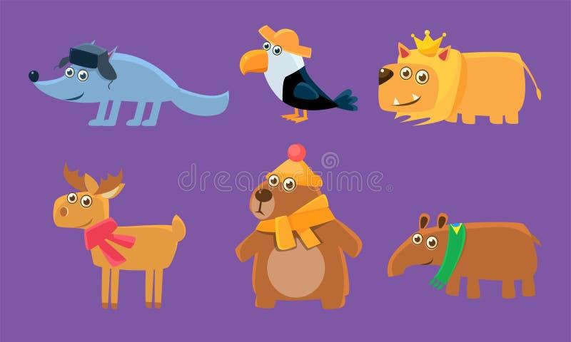 Nette Tiere Satz, Rotwild, Tukan, Wolf, Löwe, Rotwild, Capybara, Bärn-Vektor-Illustration stock abbildung