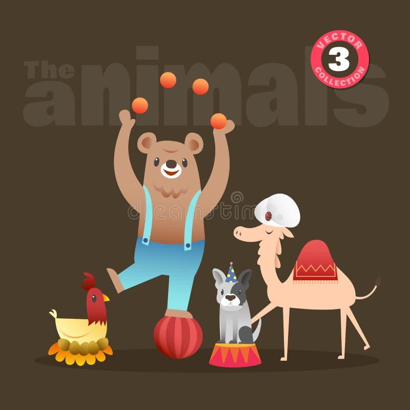 Nette Tierkarikatur einschließlich französische Bulldogge und Kamel der Bärnhenne stock abbildung