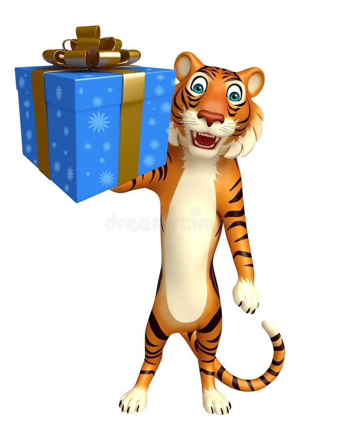 Nette Tigerzeichentrickfilm-figur mit Geschenkbox stock abbildung