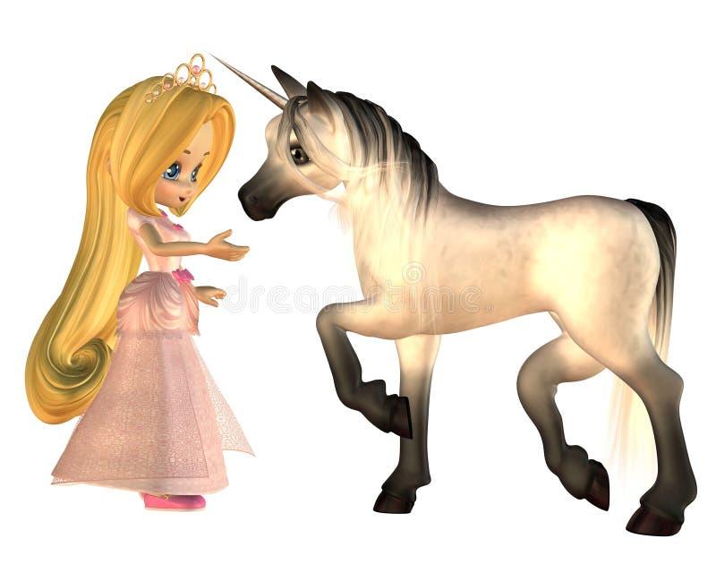 Nette Toon-Märchen-Prinzessin und Einhorn lizenzfreie abbildung