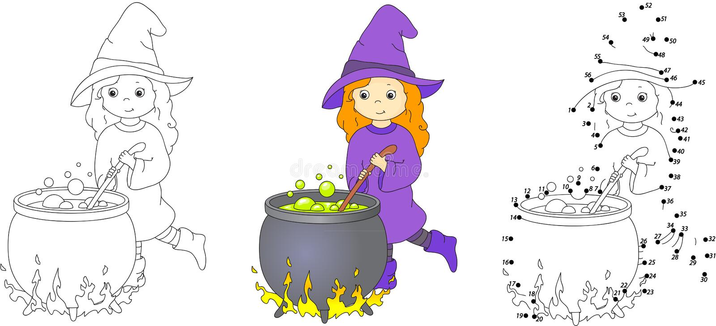 Nette und nette Hexe mit großem Kessel braut Zaubertrank lizenzfreie abbildung