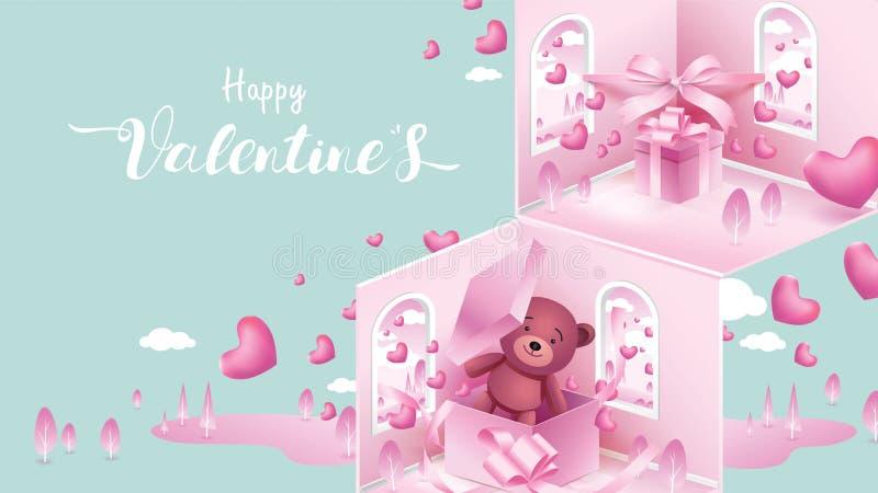 Nette und süße Elemente in Form des Herzens, Kasten des Geschenks, Teddybär, der auf rosa Hintergrund fliegt Vektorsymbole der Li stock abbildung