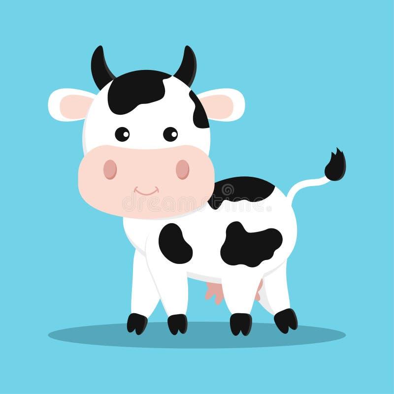 Nette und süße weiße Kuh mit Vektorillustration der schwarzen Flecke in der flachen Art der Karikatur stock abbildung