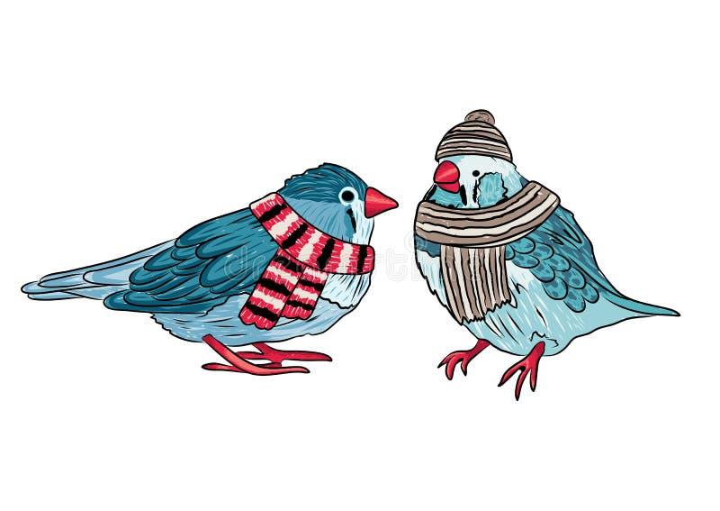 nette Vögel wärmen sich angekleidet in der Wintersaison stock abbildung