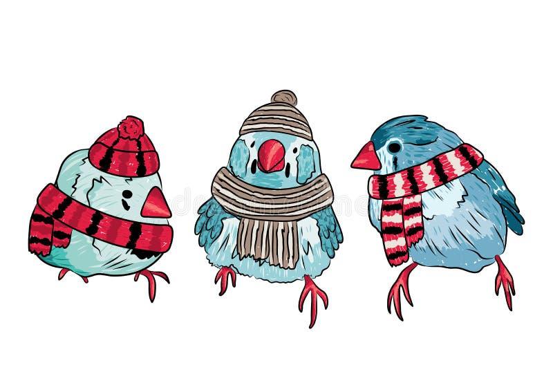 nette Vögel wärmen sich angekleidet in der Wintersaison vektor abbildung