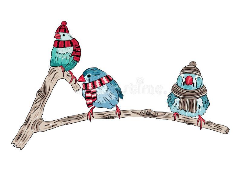 nette Vögel wärmen sich angekleidet und auf Bäumen sitzend vektor abbildung