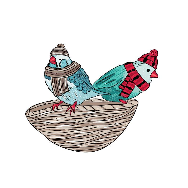 nette Vögel wärmen sich angekleidet und auf Bäumen sitzend lizenzfreie abbildung