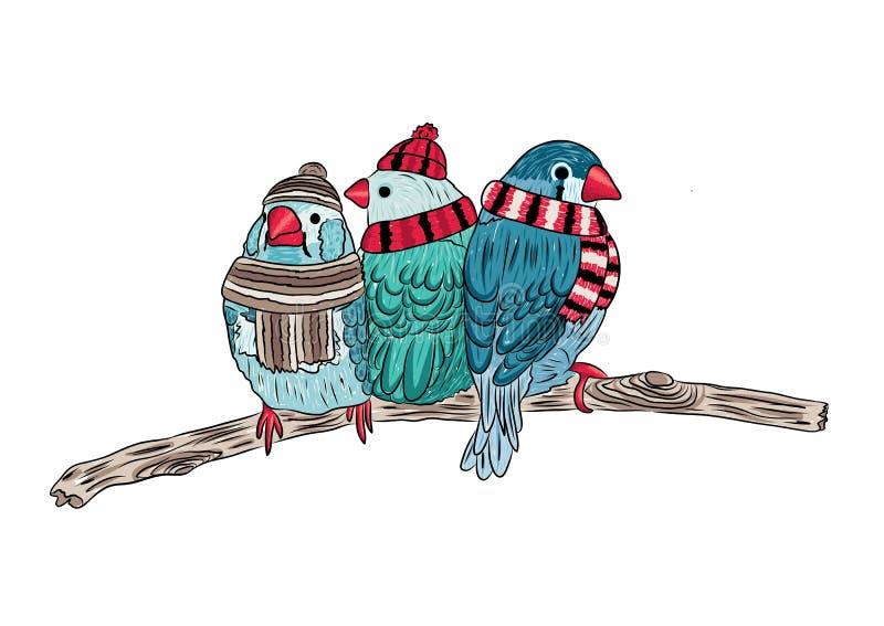 nette Vögel wärmen sich angekleidet und auf Bäumen sitzend stock abbildung