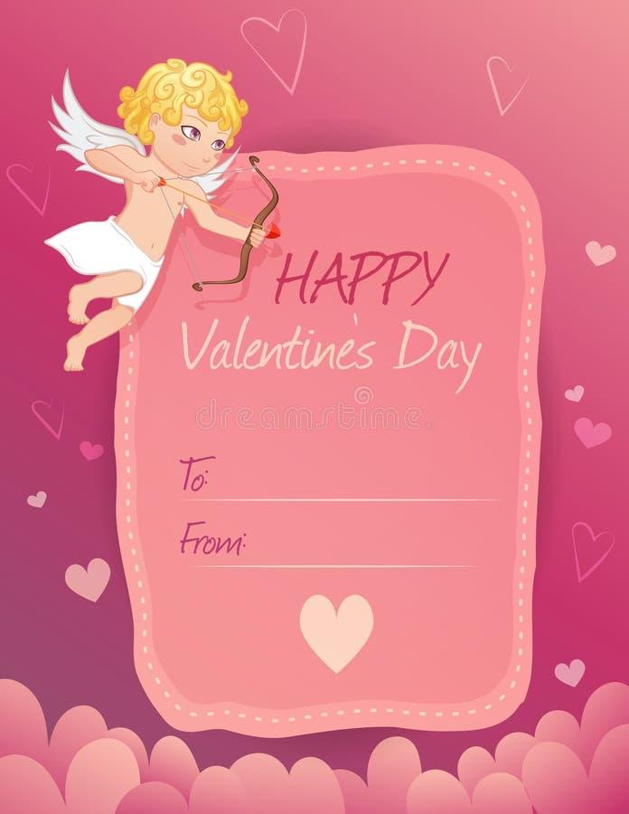 Nette Valentinstagkarte mit Amor stockfotografie