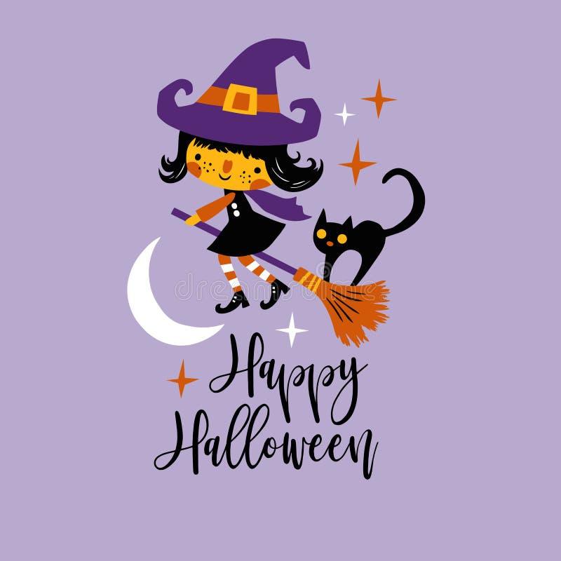 Nette Vektor Halloween-Hexe und schwarze Katze mit Mond und Sternen stock abbildung