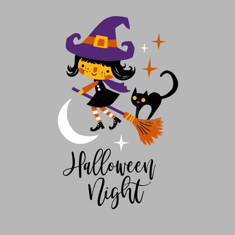 Nette Vektor Halloween-Hexe und schwarze Katze mit Mond und Sternen lizenzfreie abbildung