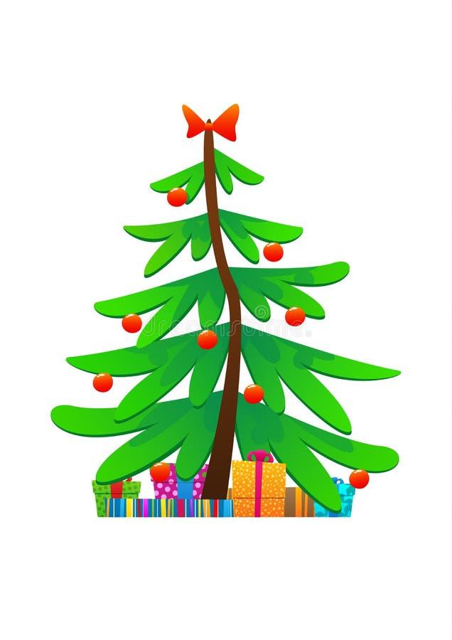 Nette Vektorillustration des Weihnachtsbaums lokalisiert vektor abbildung