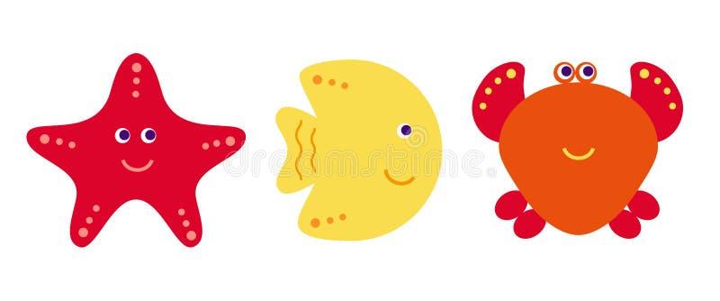 Nette Vektorkarikaturfische, Krabbe und Starfish, Ikonen eingestellt vektor abbildung