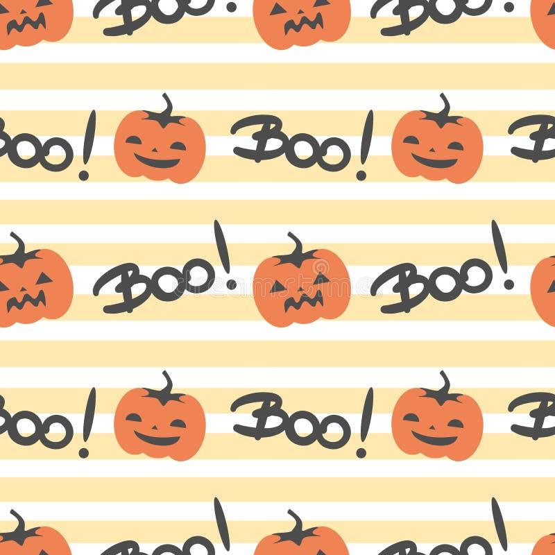Nette Vektormuster-Hintergrundillustration Halloweens nahtlose mit gespenstischen Kürbisen und Hand gezeichnete Beschriftung pfei stock abbildung