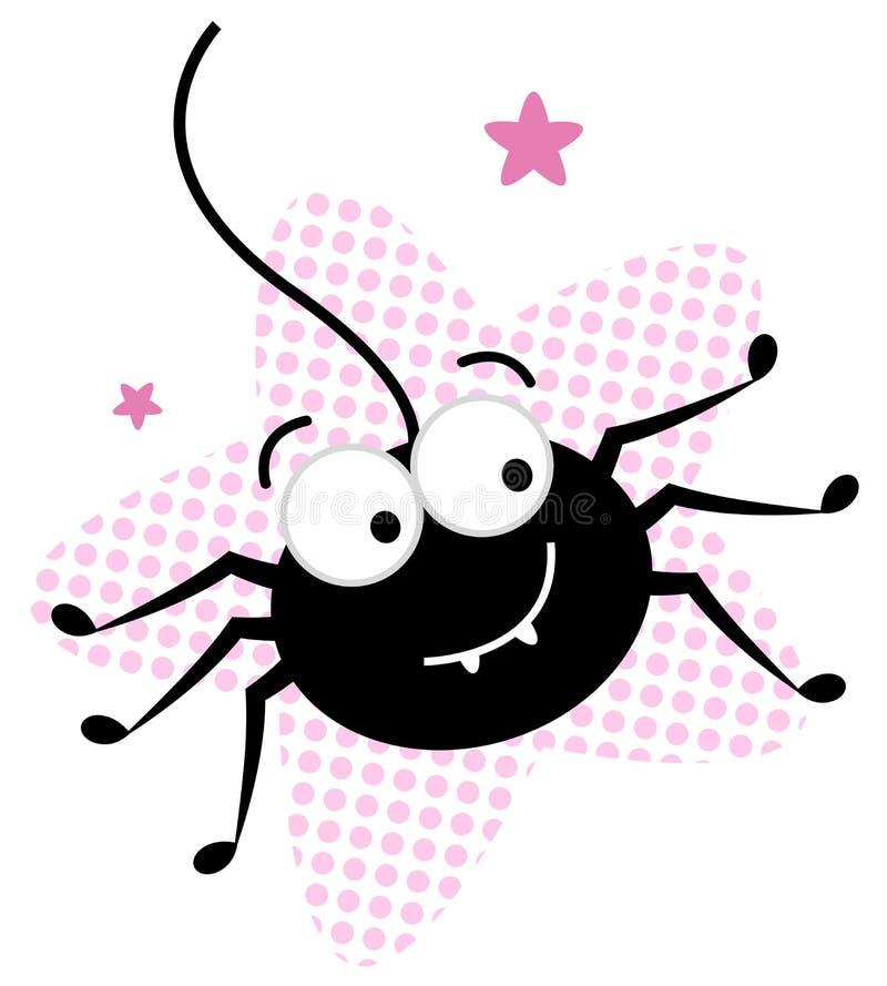 Nette verrückte schwarze Spinne im rosafarbenen Stern lizenzfreie abbildung