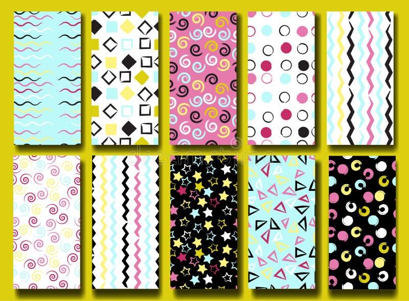 10 nette verschiedene nahtlose Muster Gewellte Linien, Quadrate, swirles, Kreise, Dreiecke und Sterne Endlose Beschaffenheit kann lizenzfreie abbildung