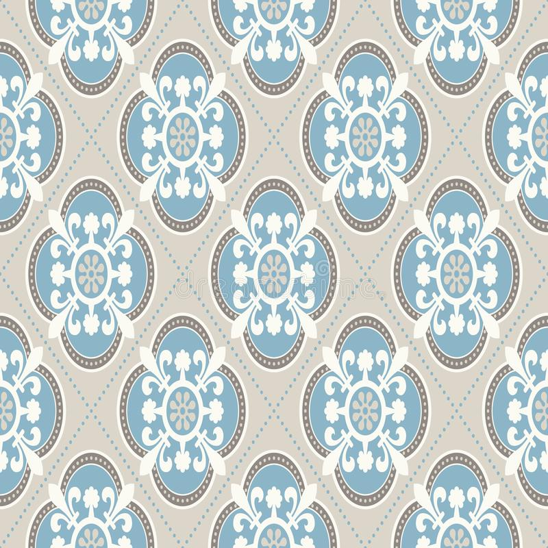 Nette Verzierung Modernes geometrisches Muster, angespornt durch alte Tapeten Nette Retro- Farben - graues beige und ruhiges Blau vektor abbildung