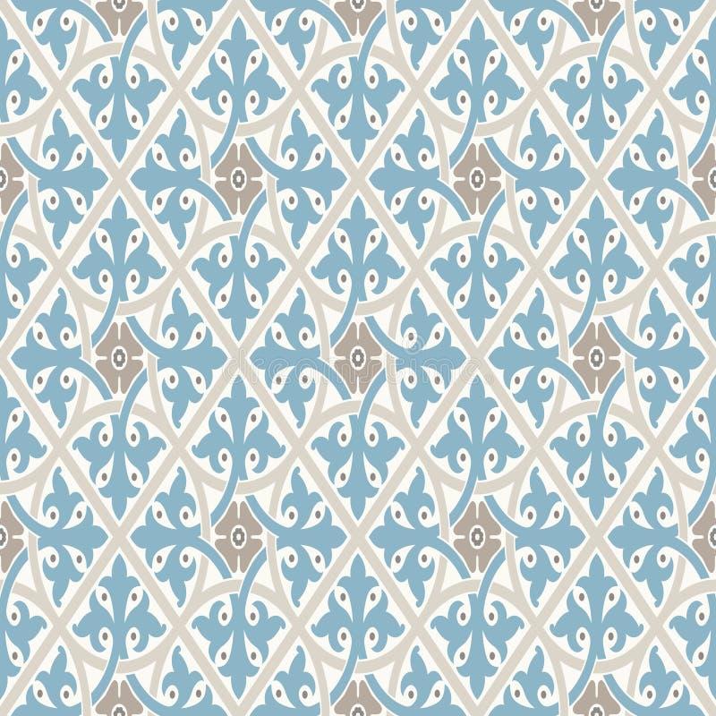 Nette Verzierung Modernes geometrisches Muster, angespornt durch alte Tapeten Nette Retro- Farben - graues beige und ruhiges Blau lizenzfreie abbildung