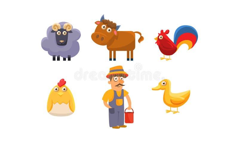 Nette Vieh und männlicher Landwirt, RAM, Schaf, Pferd, Hahn, Huhn, Entleinvektor Illustration vektor abbildung