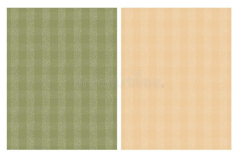Nette weiße Gitter-Vektor-Muster Beige und grüner Hintergrund lizenzfreie abbildung