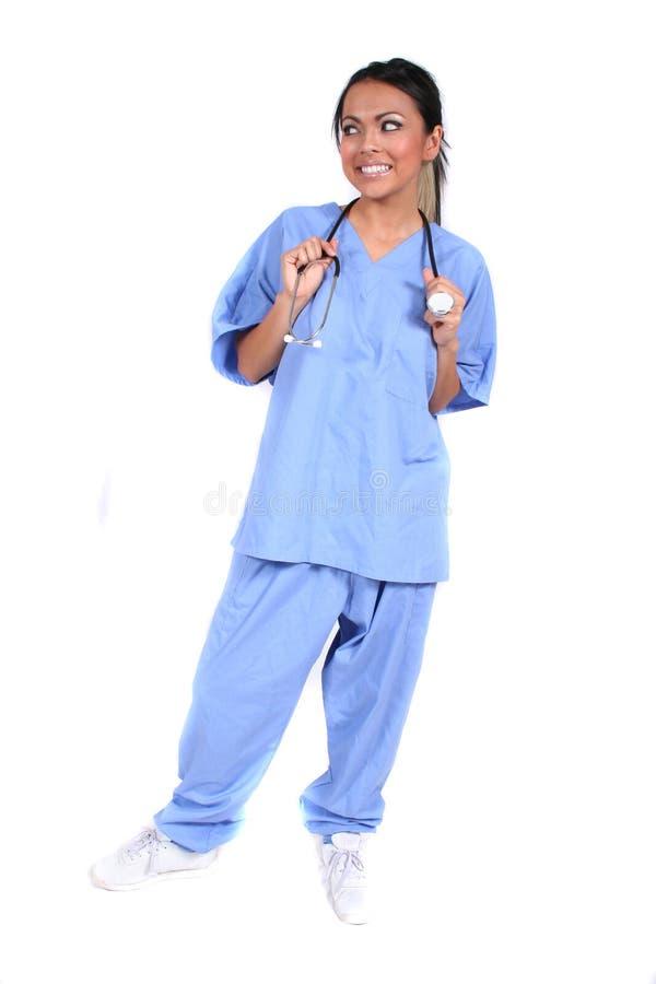 Nette weibliche Krankenschwester, Doktor, medizinische Arbeitskraft lizenzfreies stockfoto