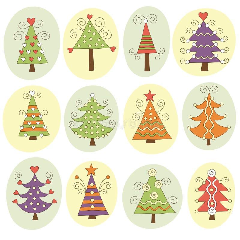 Nette Weihnachtsbäume stock abbildung