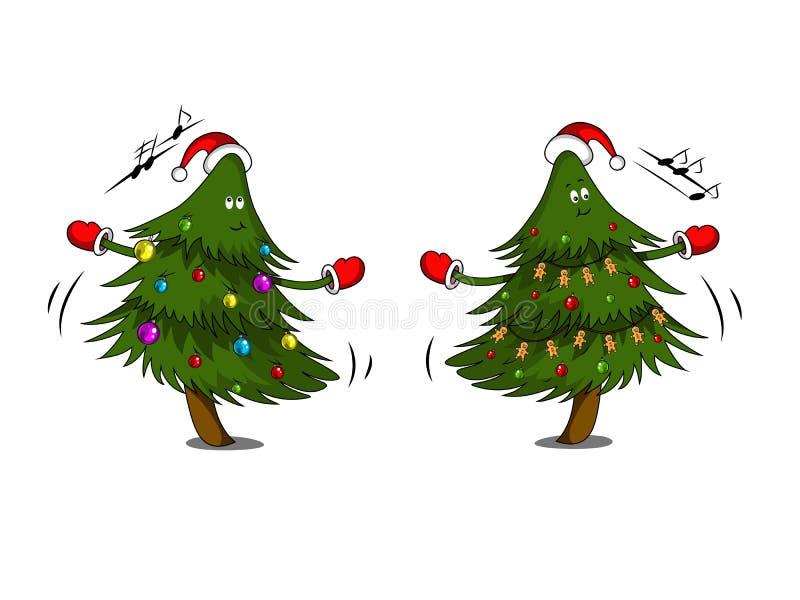 Nette Weihnachtsbäume mit Girlande tanzen vektor abbildung