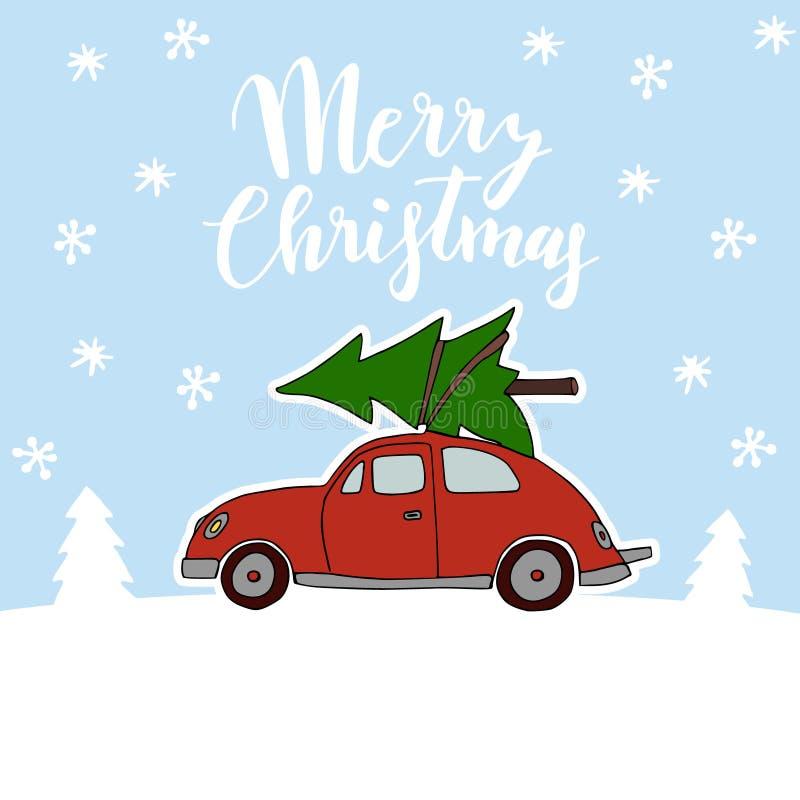 Nette Weihnachtsgrußkarte, Einladung mit dem roten Weinleseauto, das den Weihnachtsbaum auf dem Dach transportiert Verschneiter W lizenzfreie abbildung