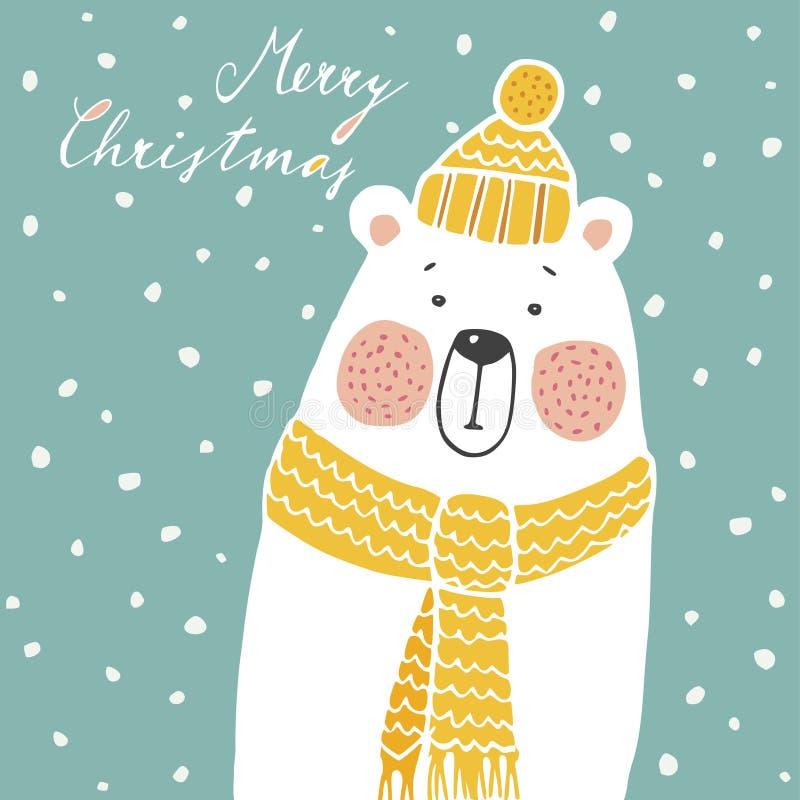 Nette Weihnachtsgrußkarte, Einladung, mit Hand gezeichnetem Eisbären, lizenzfreie abbildung