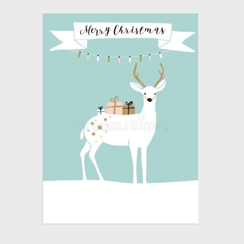 Nette Weihnachtsgrußkarte, Einladung mit Ren und Geschenkboxen Hand gezeichnetes Design Frische Milch mit Blättern und Blumen lizenzfreie abbildung