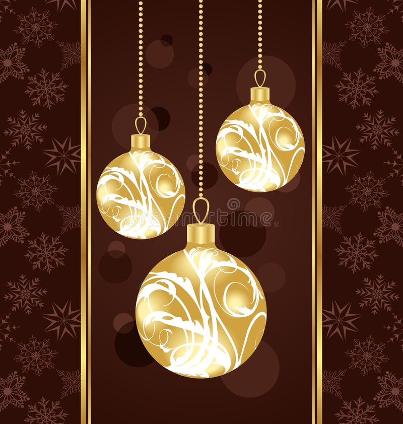 Nette Weihnachtskarte mit Goldkugeln lizenzfreie abbildung