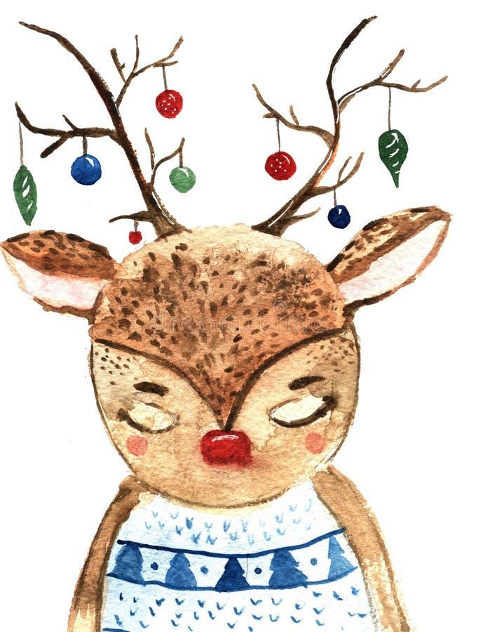 Nette Weihnachtsrotwild mit Flitter des neuen Jahres auf hornes Hand gezeichnete Aquarellillustration für Wintergrüße stock abbildung