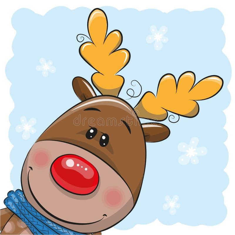 Nette Weihnachtsrotwild und -sankt lizenzfreie abbildung
