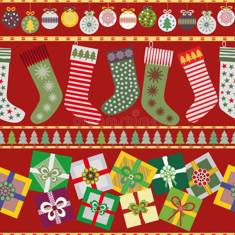 Nette Weihnachtsstrümpfe und -geschenke vektor abbildung