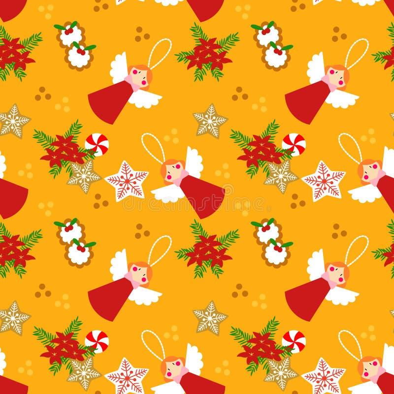 Nette Weihnachtswinkel und nahtloses Muster der Plätzchen stock abbildung