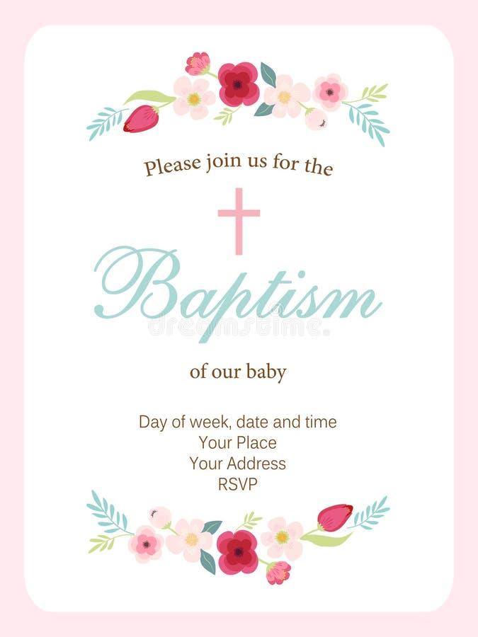Nette Weinlese Taufe-Einladungskarte mit der gezeichneten Hand blüht lizenzfreie abbildung