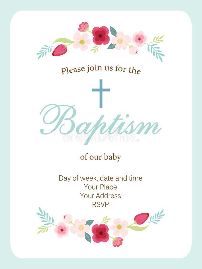 Nette Weinlese Taufe-Einladungskarte mit der gezeichneten Hand blüht stock abbildung