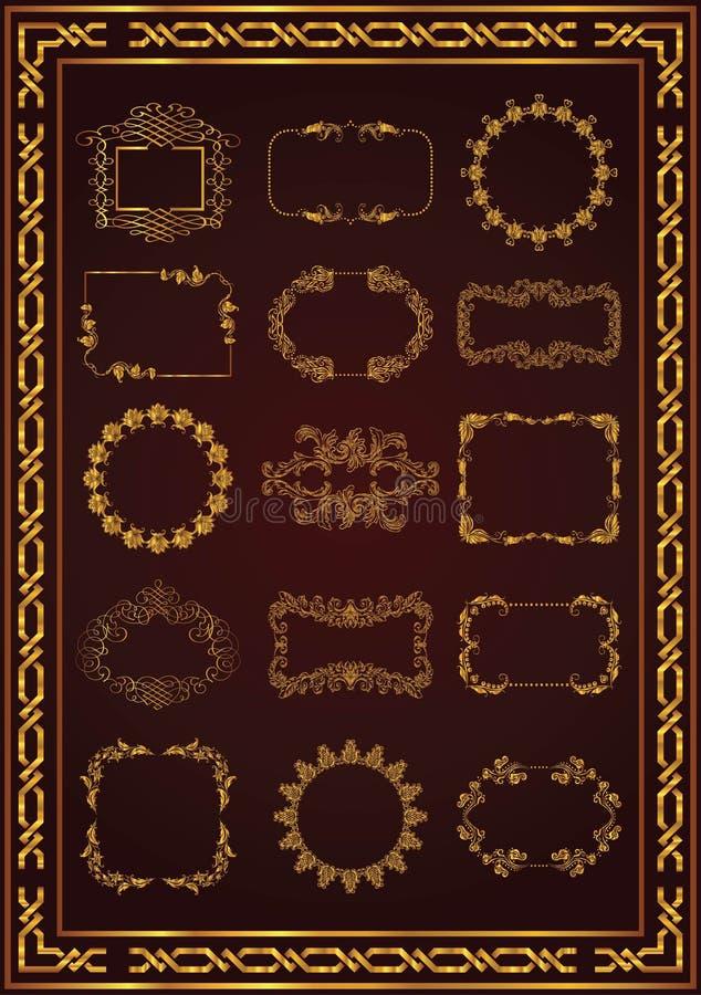 Nette Weinleserahmenstrudel-Goldfarbe stock abbildung