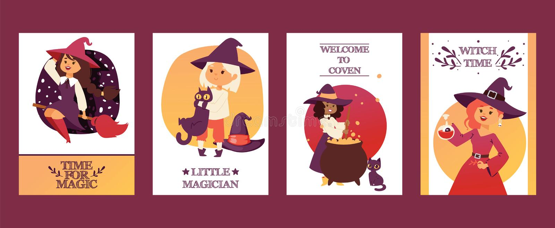 Nette wenig Halloween-Mädchen witchs mit Besenkarikatursatz glücklichen Halloween-Gruß invintation Plakats kardieren Partei stock abbildung