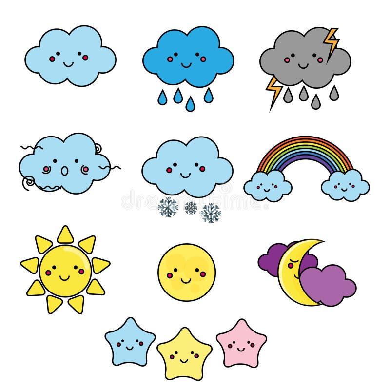 Nette Wetter- und Himmelelemente Kawaii-Mond, Sonne, Regenwolken vector Illustration für Kinder, lokalisierte Designkinder stock abbildung
