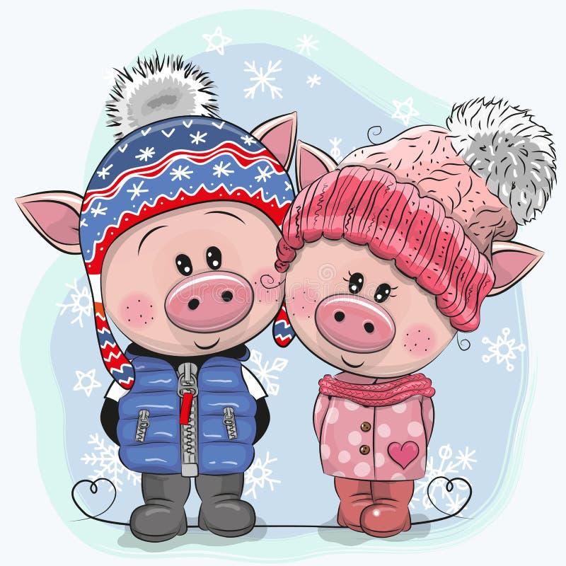 Nette Winterillustration Schweine Junge und Mädchen in den Hüten und in den Mänteln vektor abbildung