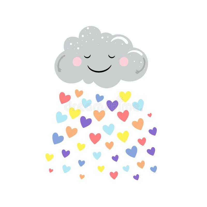Nette Wolke des Vektors und Regen von den farbigen Herzen lokalisiert auf weißem Hintergrund Karikaturdruckentwurf vektor abbildung