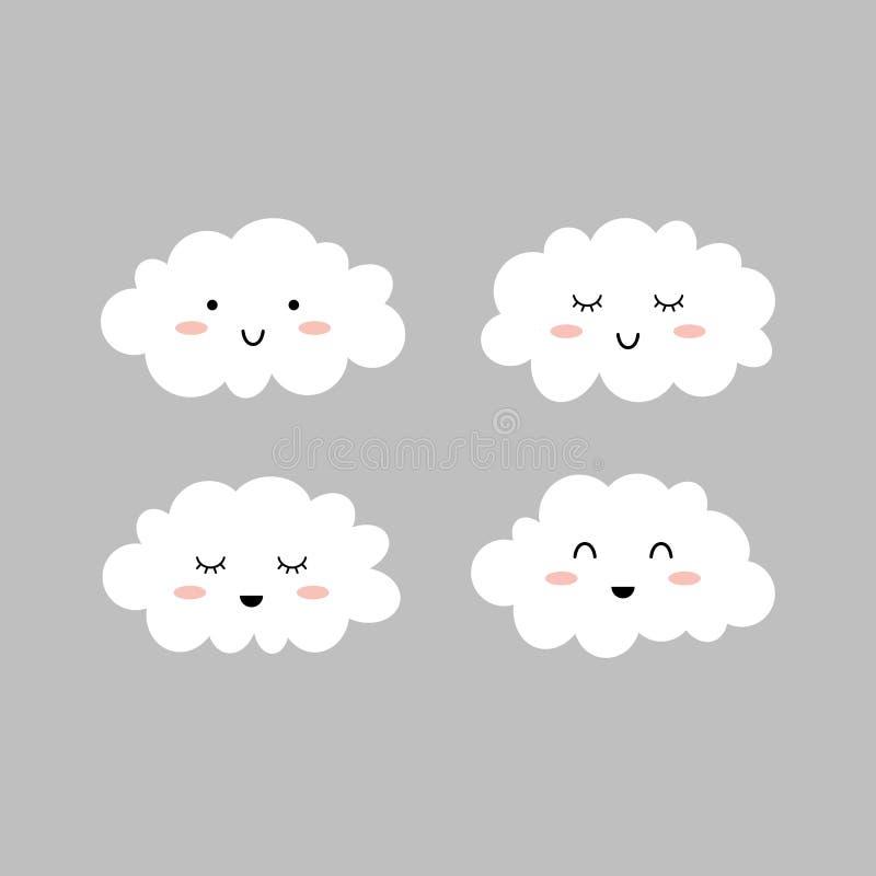 Nette Wolken Getrennt auf Grau Wolkenikonen Vektor lizenzfreie abbildung