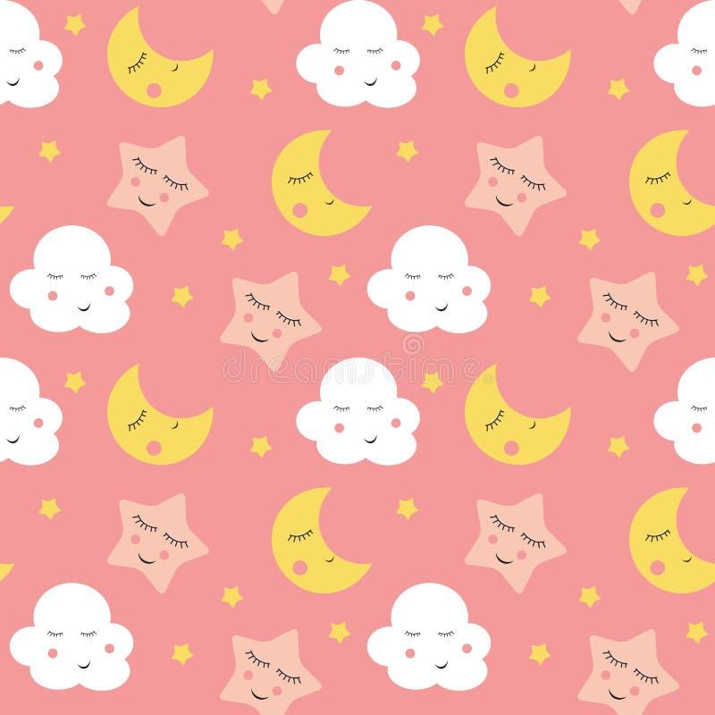 Nette Wolken-, Stern-und Mond-nahtlose Muster-Hintergrund-Vektor-Illustration vektor abbildung
