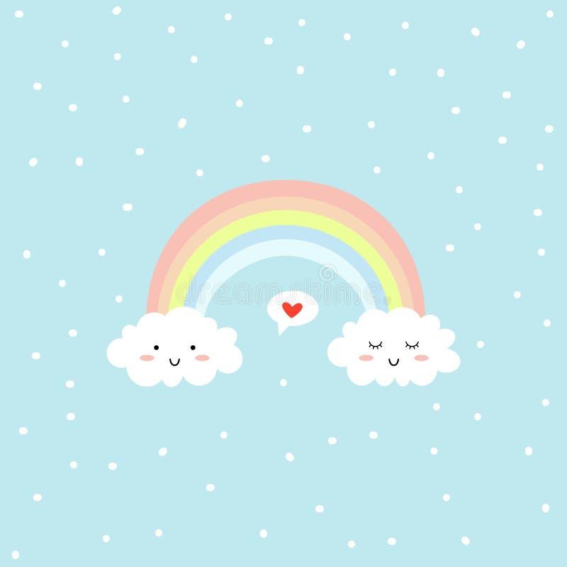 Nette Wolken und Regenbogen Liebesspracheblase Über weißem Hintergrund Vektor vektor abbildung