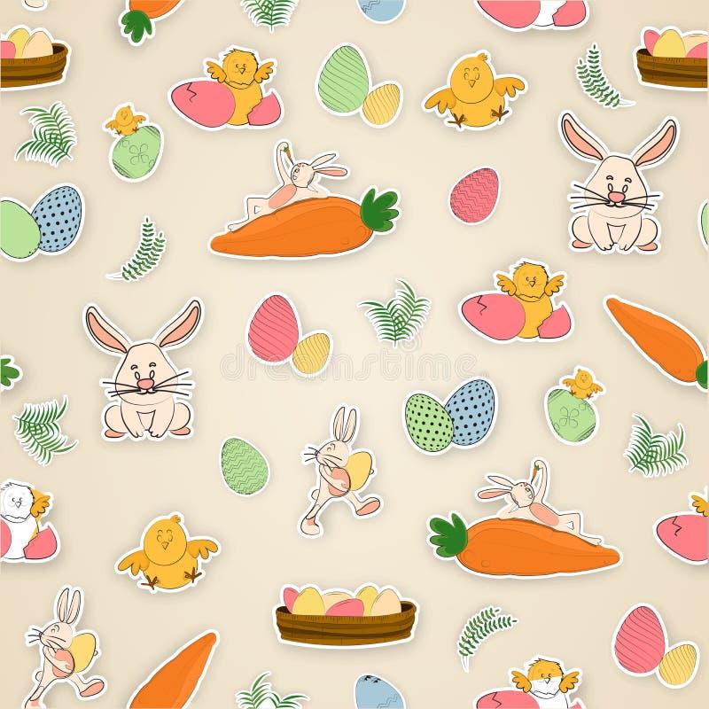 Nette Zeichentrickfilm-Figuren einschließlich Häschen, Huhn, Henne und Ei für Ostern-Feier vektor abbildung