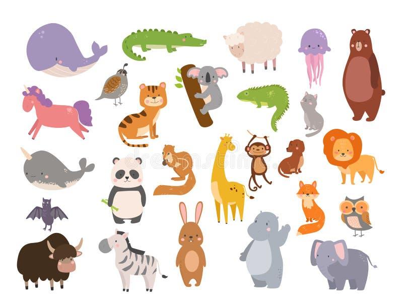 Nette Zookarikaturtiere lokalisierten lustige wild lebende Tiere lernen nette den hohen Sprache und tropischen Natursafaris?ugeti lizenzfreie abbildung
